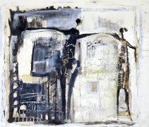 Collage, Papier auf Lw., 90 x 100 cm